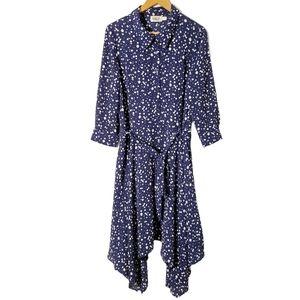 Eliza J Polka Dot Maxi Wrap Pockets Dress Size 14.